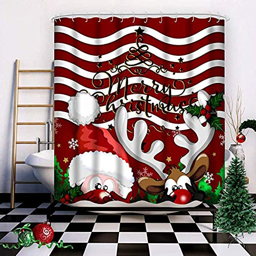 Wasserrhythm Merry Christmas Shower Curtain Red Reindeer Santa Claus Custom Fashion Hide and Seek Shower Curtain Polyster 72x72 Inches