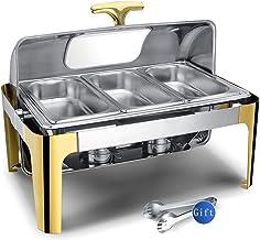 Aprilhp Chafing Dish Buffet, Chauffe Plat Traiteur Electrique Acier Inoxydable la Chaleur Conteneur Buffet Réchaud, Avec f...