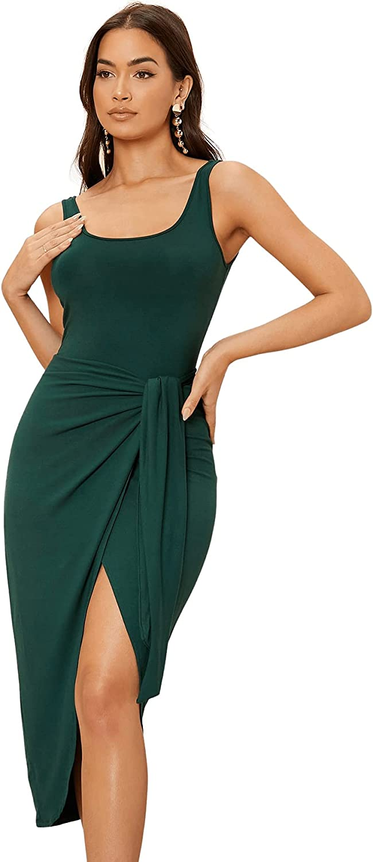 Milumia Women Sleeveless Asymmetrical Hem Midi Dress Tie Front Slit Bodycon Party Dress