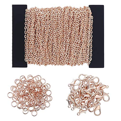 MOPOIN 39 Füße Kabel Kette Halskette, DIY Link Kette Ketten Gliederkette Halsketten mit 100 Biegeringe und 30 Karabiner für Schmuck Herstellung, Rose Gold