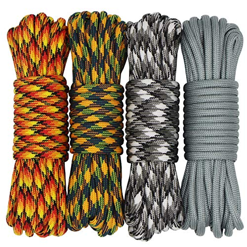 aufodara 4 Pieces 19ft / 6Meter Paracord Cords 550 Multifunction Paracord Rope Crafting Bracelet Braided Rope Lanyards Dog Collar DIY Crafting (D4-E)