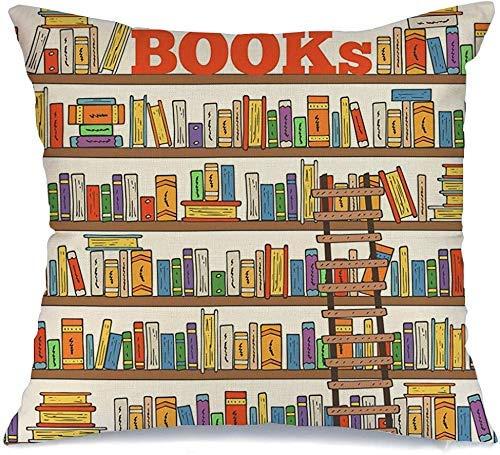 Funda de cojín Throw Cojín Caso Funda de Almohada Revista Mano Libros Doodle Dibujados Interior Escuela Estantes Colección Texturas Tienda Aprender Educación 45 X 45 CM