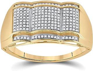 FB جواهر الذهب الأصفر 10kt خاتم الأزياء الماس الدائري للرجال 1/3 Cttw