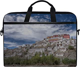 Rh Studio Laptop Bag Tiksi India Monastery Mountain Buildings Laptop Shoulder Messenger Bag Case Sleeve for 14 Inch to 15.6 Inch with Adjustable Notebook Shoulder Strap