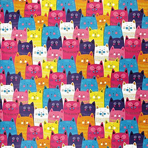 Geschenkpapier Teenager 70cm x 2m Rolle Motive: Katzen Mix