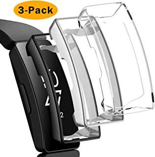 NANW 3 Pack Screen Protector Compatible with Fitbit Inspire HR/Inspire, All-Around Protective Scratch-Resist Case Cover Soft TPU Plated Bumper Shell for Inspire HR Smartwatch