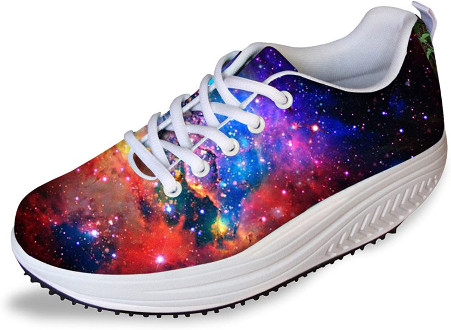 Women Galaxy Platform Walking shoes 3D Wedge shoes Lace Up Sneakers Breathable Casual Ladies Medium Heel