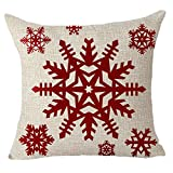 FELENIW Happy Winter red Snowflake Merry Christmas Throw Pillow Cover Cushion Case Cotton Linen Material Decorative 18'x18'' Square