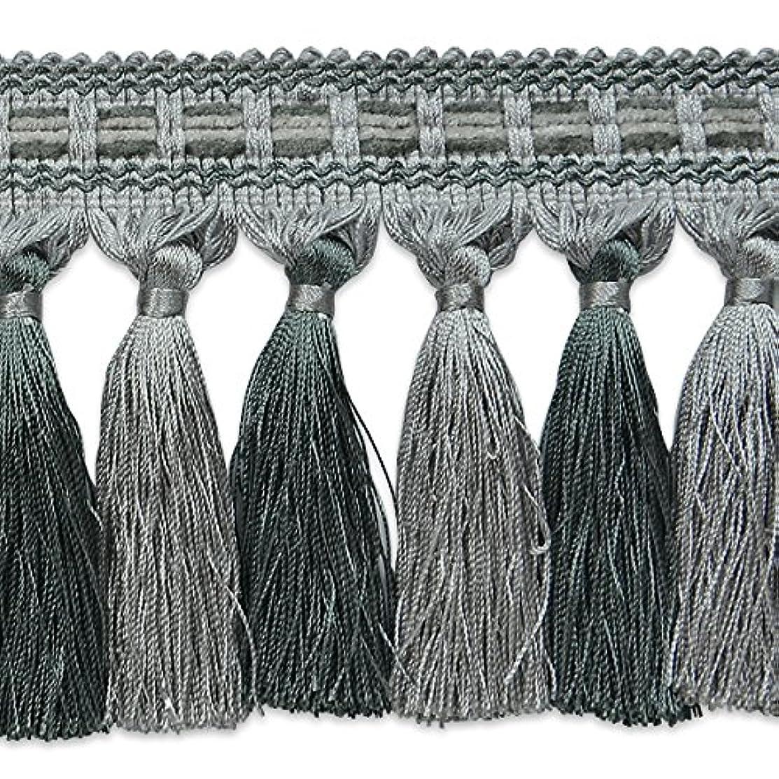 Expo International Talia Twisted Tassel Fringe Trim Embellishment, 20-Yard, Gray/Slate