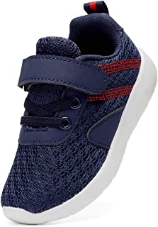 DADAWEN Boy's Girl's Lightweight Breathable Sneakers Strap Athletic Running Shoes Navy US Size 5 M Toddler