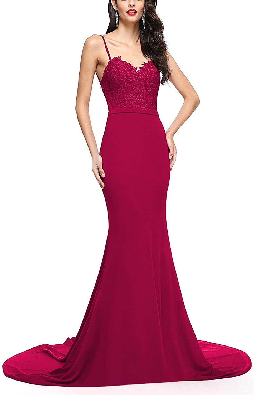 Vimans Women's 2018 Long Prom Dresses with Train Formal Evening Gown Dress5055
