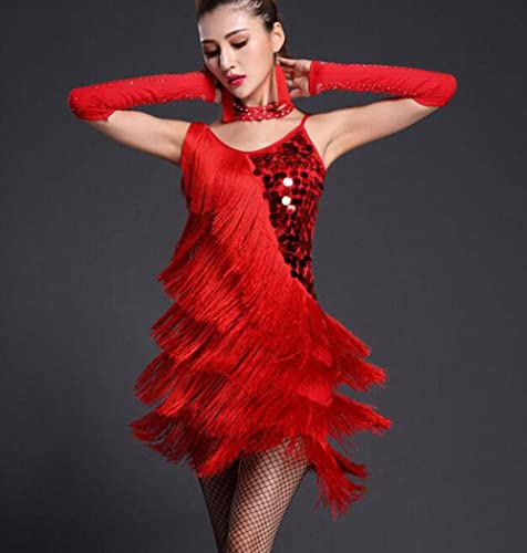 RENHommes Costume de Costume de Jupe de Danse Latine Adulte Femelle à Paillettes Robe à Paillettes, M