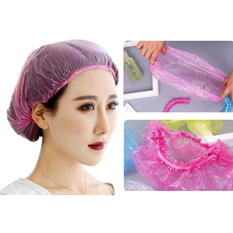 カロリー酸化物忘れられないWotion シャワーキャップ 使い捨てキャップ ヘアキャップ100枚入 個別包装 髪染め用 ヘアカラー用 サロン用 作業用 男女兼用 (ピンク)