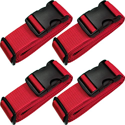 TRANVERS Luggage Straps for Suitcase Extralong Travel Belt Adjustable 4-Pack Red