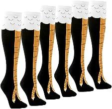 Womens Novelty Funny Crazy Socks - 1/3Pack Cool Funky Animal Cartoon Cosplay Chicken Leg Knee High Mid-calf Gift Socks