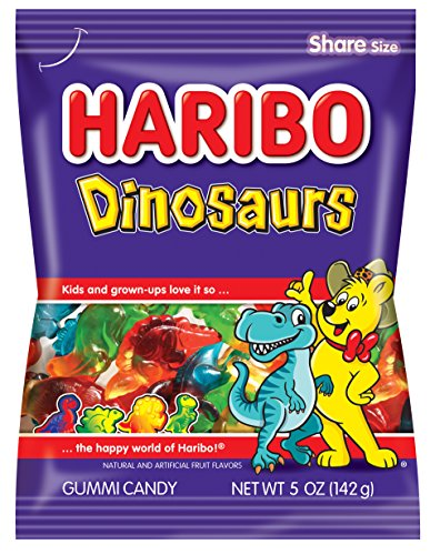 Haribo Gummi Candy, Dinosaurs, 5 oz. Bag (Pack of 12)
