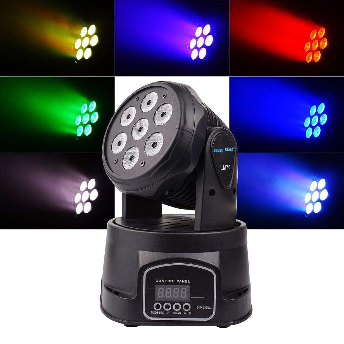 同情位置するアクセントSevenStars ステージライト ムービングヘッドライト ステージ照明 7x8W RGBW DMX512 音声制御 マスタースレーブ 自走 ミニ LED ディスコ ウェディング イベントショー パフォーマンス 誕生日 パーティー LED照明 (LM70-SS-JP)