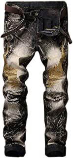 ZiXing Men's Slim Fit Vintage Casual Denim Ripped Distressed Embroidery Decoration Biker Jeans