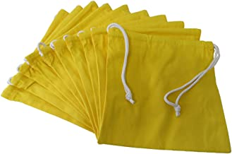 丈夫な帆布の巾着袋10枚セット 11号帆布 硬貨集金用巾着袋 両絞り コインケース 小銭 (レモン)