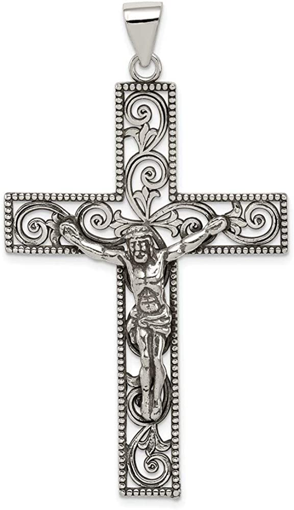 Sterling Challenge the lowest price of Japan Silver Antiqued Beaded Crucifix Pendant Lowest price challenge style Filigree