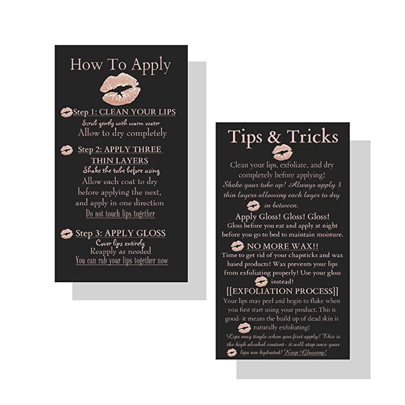 How To Apply LipSense by SeneGence Tips and Tricks Cards | 50 Pack | Application Instruction Business Cards for LipSense | Black, Pink/Rose Gold