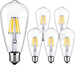 LED Edison Bulb Dimmable Vintage Style Light Bulbs 6W 5500K - 6000K Bright Daylight White E26/E27 Base 6-Pack Antique Bulb by LUXON