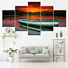 HPPTON 5 canvas paintings Canvas Painting wooden boat in river sunset 5 Pieces Wall Art Painting Modular Wallpapers Poster Print living room Home Decor-8 x 14/18/22inch,Without frame