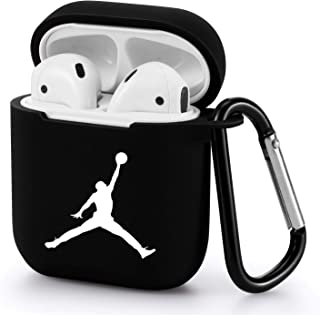 Gebaisi Protective TPU Cover and Skin for Apple Airpods Charging Case with Keychain Black White B