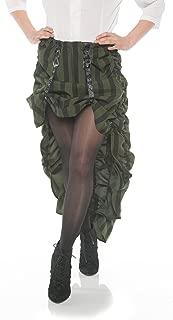 Women's Green Striped Steampunk Costume Skirt
