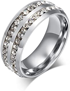 Discountsday Valentine's Day Rings Unisex Titanium Steel Ring Men Women Wedding Band Silver Gold Personalized Gift Silver