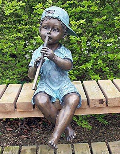 pompidu-living Wasserspeier Junge mit Flöte, Bronzeguss H 50cm