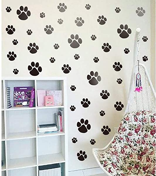 Pet Paw Wall Decal DIY Cat Dogs Footprint Wall Sticker For Kids Room Decoration Animal Theme Party Sticker 40pcs Paw Decals