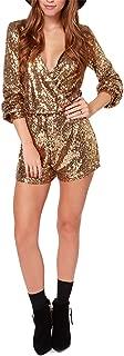 Women Shiny Sequined V-Neck Cross High Waist Nightclub Long Sleeve Jumpsuit