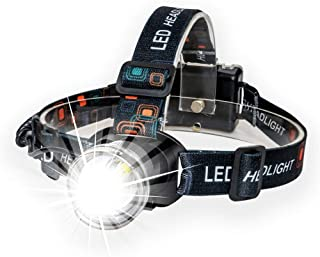 Lightess Head Lamps Super Bright Zoomable Headlamp XM-L T6 LED Head Torch Waterproof Adjustable Headlights for Running Climbing Hunting Fishing Cycling Riding Camping, Grey, 3 Modes, 1800lm