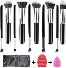 WEBEAUTY Makeup Brushes Set 10 Pieces Premium Synthetic Foundation Brush Blending Face Powder Blush Concealers Eye Shadows+ Bonus Blender Sponge + Brush Egg + Travel Makeup Bag (10+3pcs) Gift For Lady
