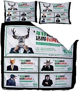 Fundas Nordicas Cama Caballero Animal Alce Lobo Zorro Juego De Colcha De 3 Piezas Poliéster con Cremallera Oculta, Ropa De Cama con 1 Funda Nórdica Y 2 Funda De Almohada,200X200