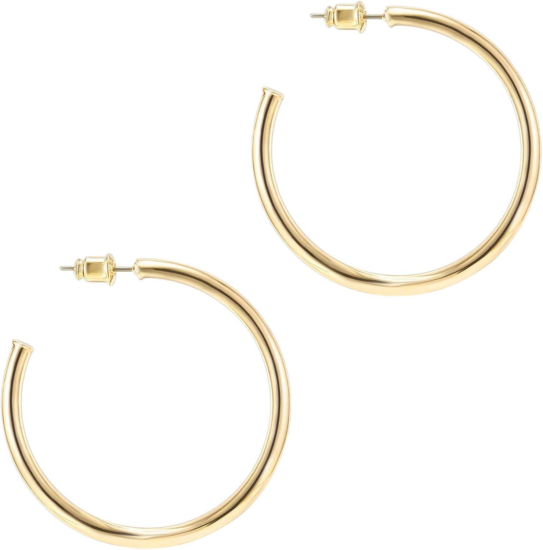 PAVOI 14K Gold Plated Hoop Earrings For Women | 2mm Thick Infinity Gold Hoops Women Earrings | Gold Plated Loop Earrings For Women | Lightweight Hoop Earrings Set For Girls