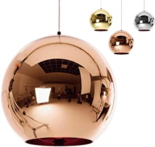 ✨Industrial Modern Mirror Glass Ball Pendant Lamp,Adjustable Mirror Ball Pendant Ligh, Ceiling Lamp Shade for Kitchen,Dining Room,Bar (Copper, 15cm)