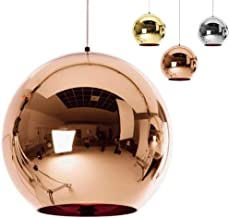 ✨Industrial Modern Mirror Glass Ball Pendant Lamp,Adjustable Mirror Ball Pendant Ligh, Ceiling Lamp Shade for Kitchen,Dining Room,Bar (Copper, 25cm)