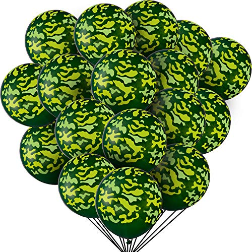 60 Pieces Latex Camo Balloons Camouflage Balloons Military Balloons for Hunting Themed Party Military Celebrations