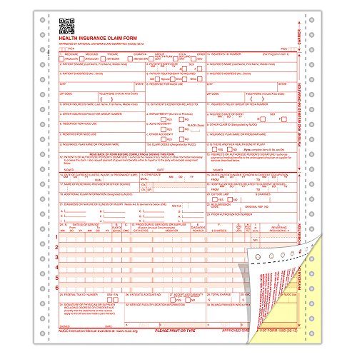 ComplyRight CMS 1500 Healthcare Billing Form - 02/12, 2-Part Continuous, White & Canary, 1000-Count (CMS122)