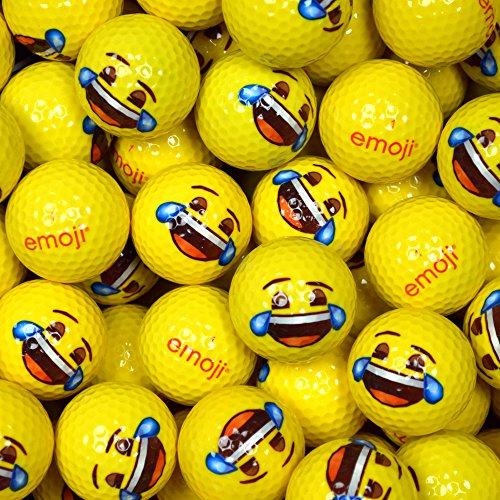 Emoji Erwachsene Golfbälle 48er Set neuartige Weinen/Lachen-Gesicht, Gelb, 48, EMGBB004#19-48PK