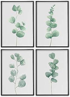 DONLETRA® Set de 4 Láminas Decorativas Nórdicas de Hojas para Enmarcar - A3 A4 - Decoración de Pared - Cuadros Modernos en Lienzo sin Marco, LSM-SET4-002 (A4 21x30cm)