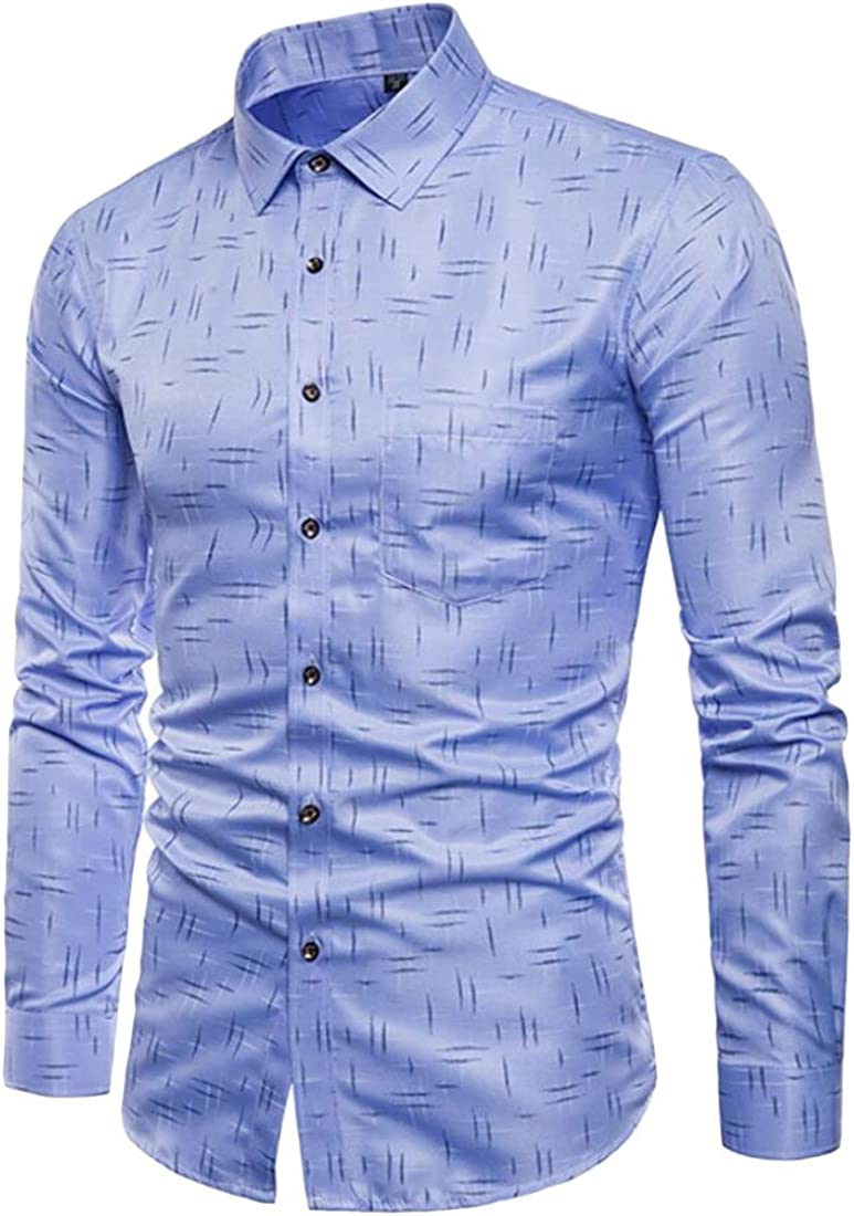 Twcx Mens Slim Fit Stylish Patterns Button Down Shirts