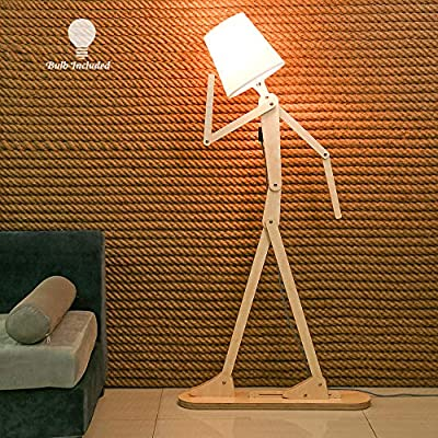 HROOME Modern Contemporary Decorative Wooden Floor Lamp Light with Fold White Fabric Shade Adjustable Height Standing Light for Living Room Bedroom Office 160cm Unique Design DIY Man Lamps