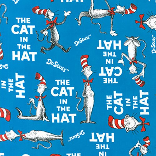 Robert Kaufman DI-499 The The Cat In The Hat Book Cover Turquoise Fabric by the Yard
