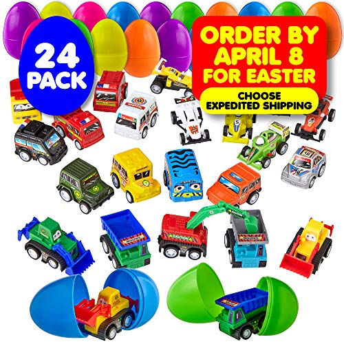 For Sale! 24 Easter Eggs Filled with Toy Cars - Large 2 3/4 Inch Plastic Egg for Easter Basket Stuff...
