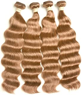 Hairpieces Hairpieces Fashian Brazilian Hair Bundles Natural Ocean Wave Hair 1 Bundle, Real Human Hair #30 Bright Brown Color(1 Bundle,10-28 Inch,100g) for Daily Use and Party