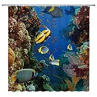 熱帯の海の魚たちサンゴの水中植物浴室の窓の装飾のための生地のホックが付いているポリエステル防水シャワー・カーテン60X72in