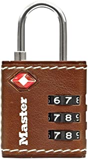 Master lock Luggage Lock TSA 3 Digit Set Your Own Combination Leather Effect Padlock Brown 4692EURDBRN